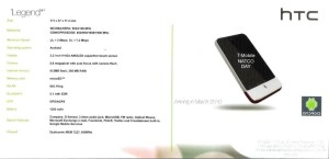 HTC Legend Specs