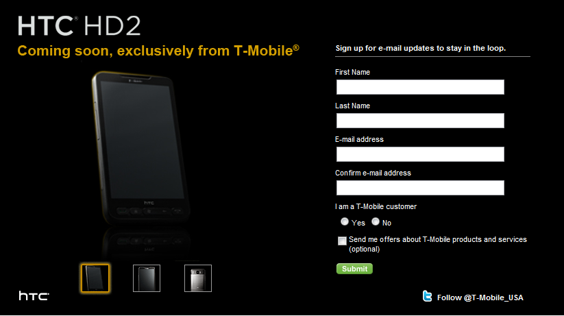T-Mobile Makes It Official, HTC HD2 Coming (with Exclusivity)