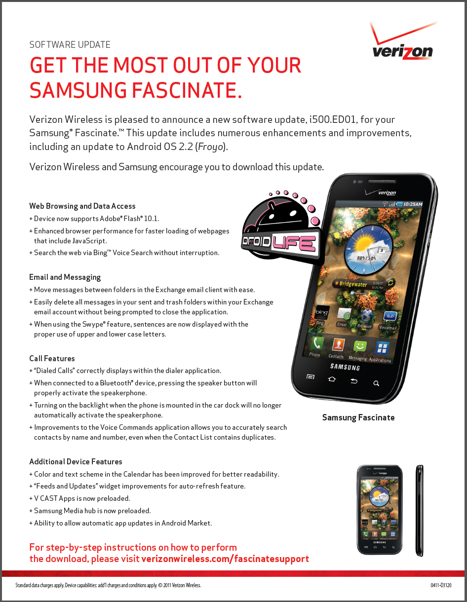 Verizon Samsung Fascinate is now Froyo ready