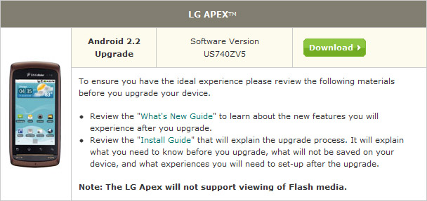 lg apex on us cellular gets the froyo update rh theunlockr com LG Apex Headset LG Cell Phone Manuals