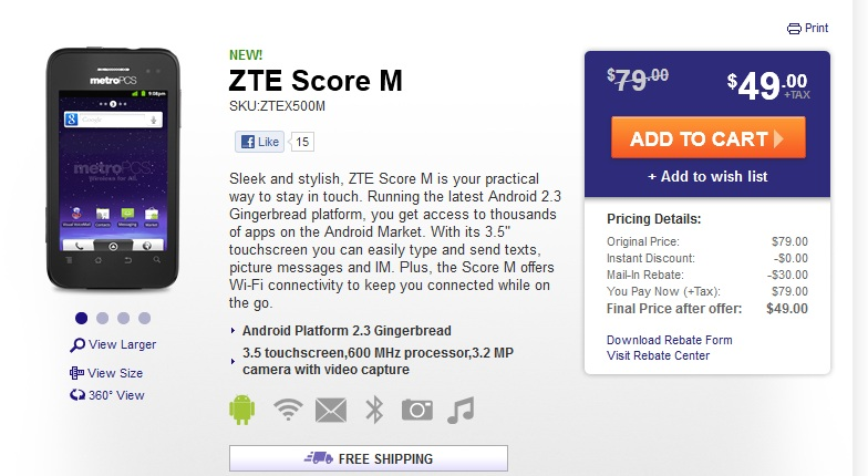 MetroPCS adds the ZTE Score M Android phone to its