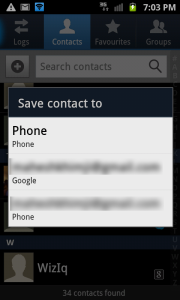 Save contact to