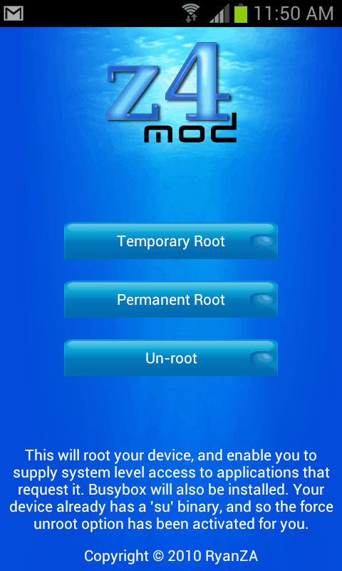 Tap the Un-root button