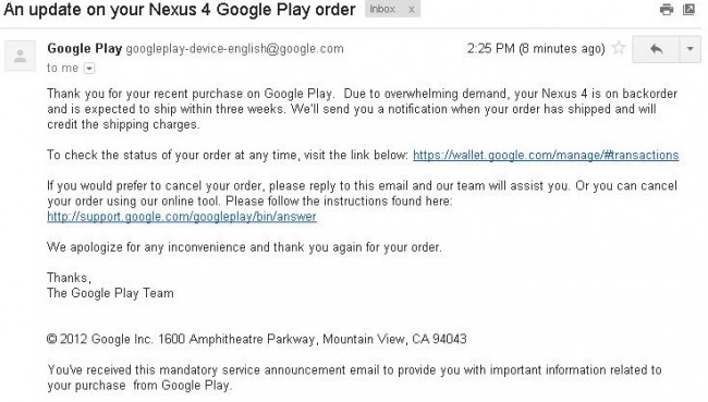 Google Waives Shipping On Backordered Nexus 4 Promises To Ship Out Within 3 Weeks