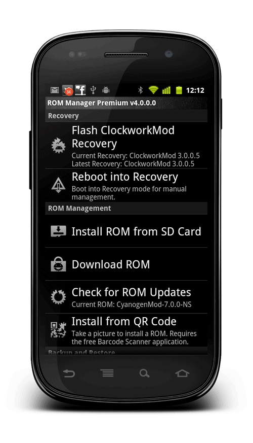 Flash CWM using ROM Manager