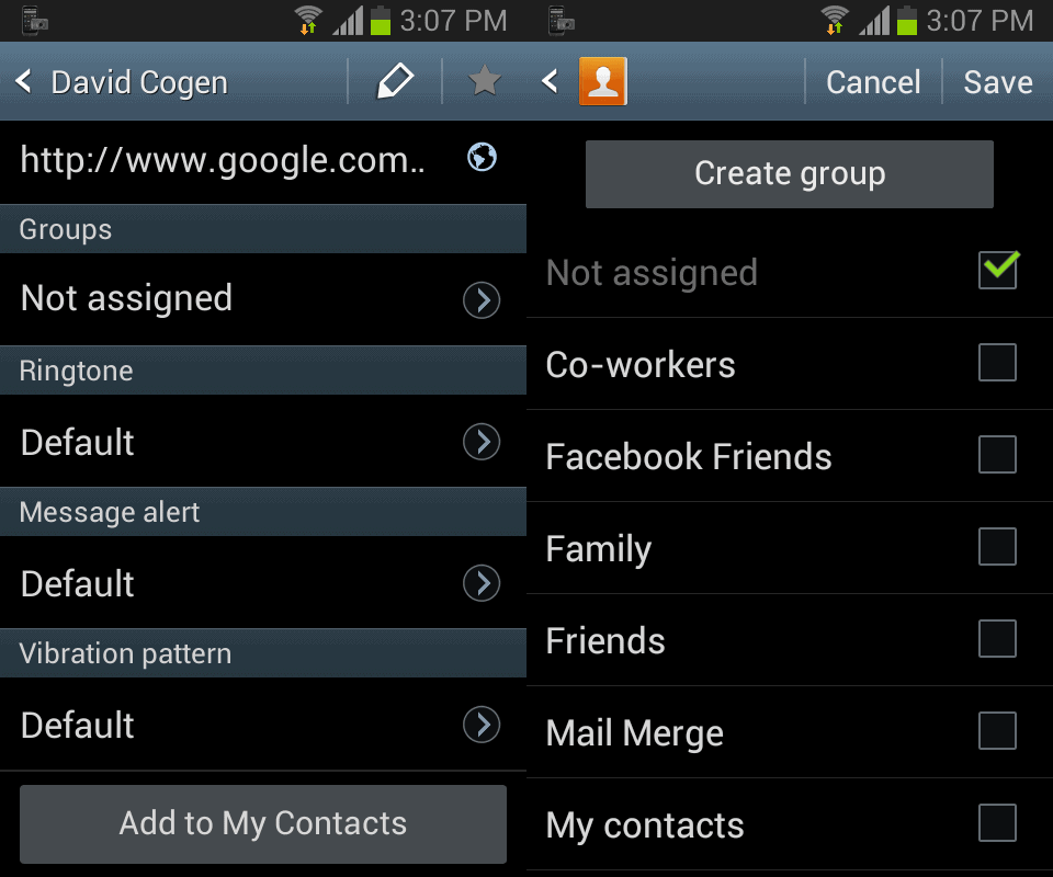 how to add a contact to a group on the samsung galaxy s4