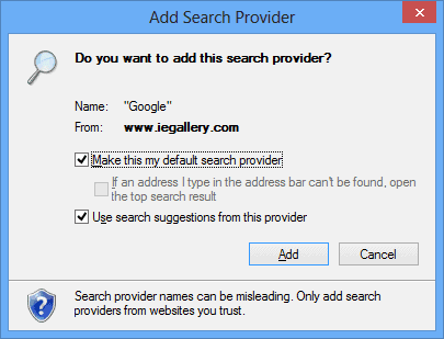 Add Search Provider