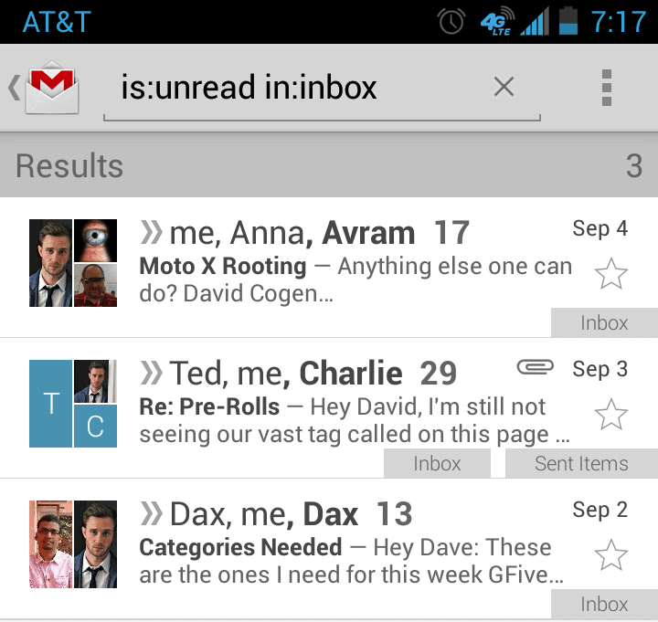 how to find unread emails in gmail app on iphone
