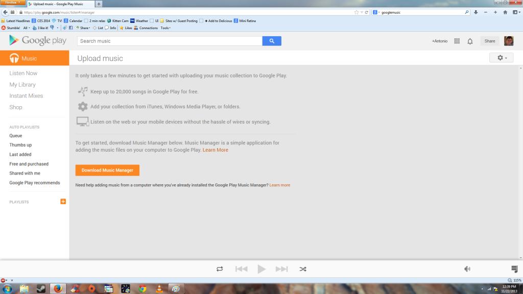Google Play upload music screen