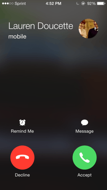 Where is the Decline Button on Incoming Calls for iOS 8?