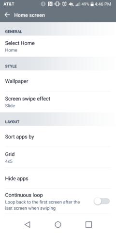 G6 Home Screen Settings