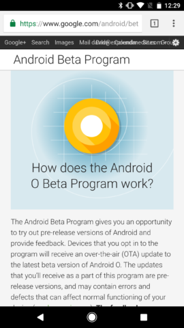 Android O Beta Site