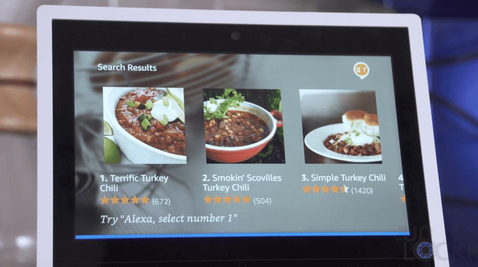Echo Show Recipe Options