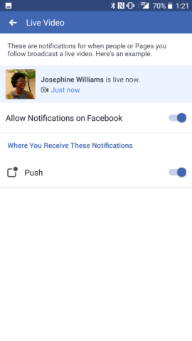 Facebook Live Video Toggle