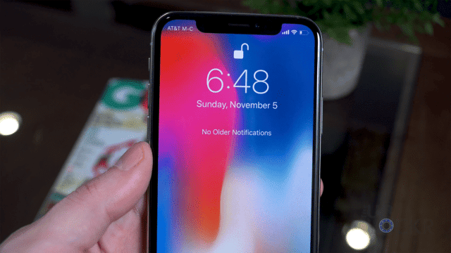 Notification Center on iPhone X
