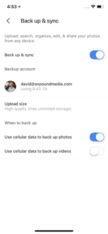 Turn on Backup and Adjust Settings