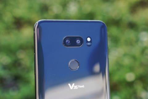 LG V35 Close Up on Cameras in Grass
