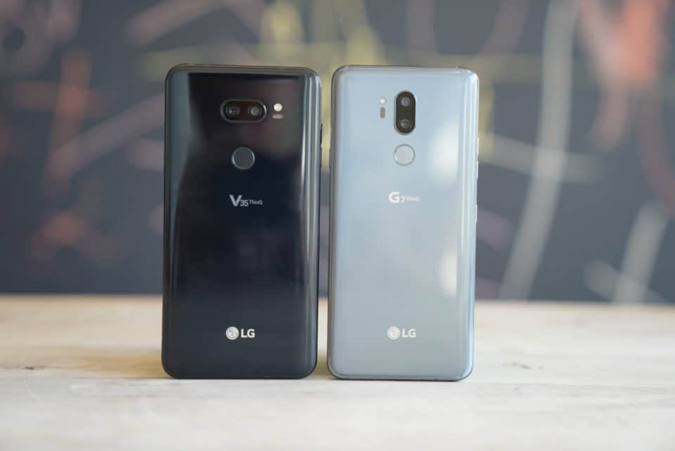 LG V35 vs LG G7 Standing Backs