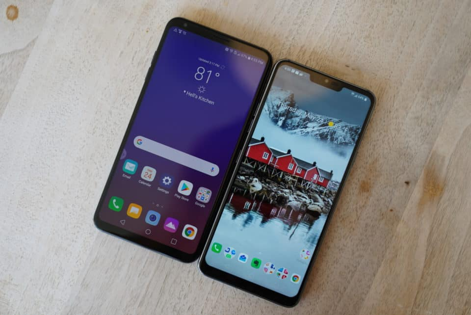 LG V35 vs. LG G7 Laying Flat on Table Face Up