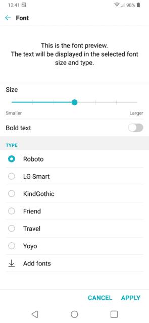 LG G7 Font Options