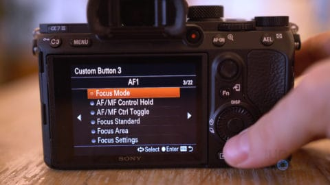Sony A7III Selecting Custom Action