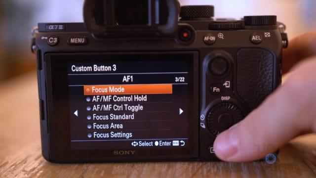 Sony A7III Selecting Custom Action