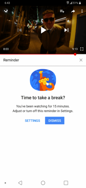 YouTube Take a Break Message