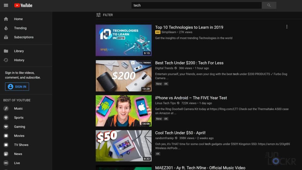 UHD on YouTube
